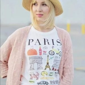 J CREW Collectors Paris Short T Shirt Top White M